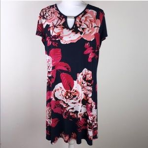 Tiana B. Sz 16 navy blue and pink floral dress